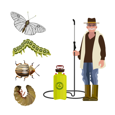 Exterminator with sprayer and agricultural pests: butterfly, caterpillar, beetle, larva. Vector illustration isolated on white background