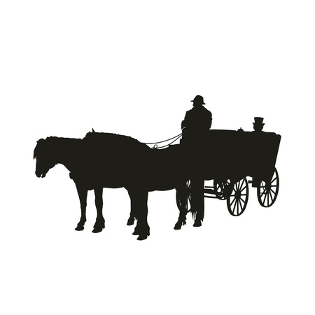 Silhouette of horse-drawn four-wheeled carriage. Vector illustration isolated on white background