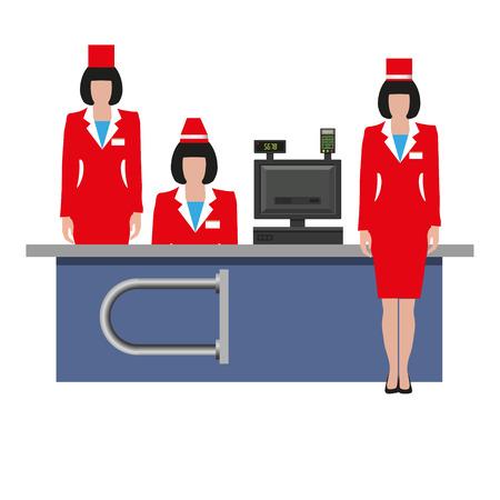 Stockez les employés en uniforme sur le lieu de travail près de la caisse enregistreuse. Commis de vente. Illustration vectorielle isolée sur fond blanc Vecteurs