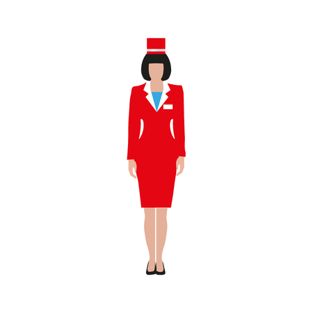 Woman in a red suit. Saleswoman, cashier, clerk, stewardess. Vector illustration isolated on white background