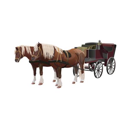 Carrozza con cavalli marroni davanti. Illustrazione vettoriale isolato su sfondo bianco Vettoriali