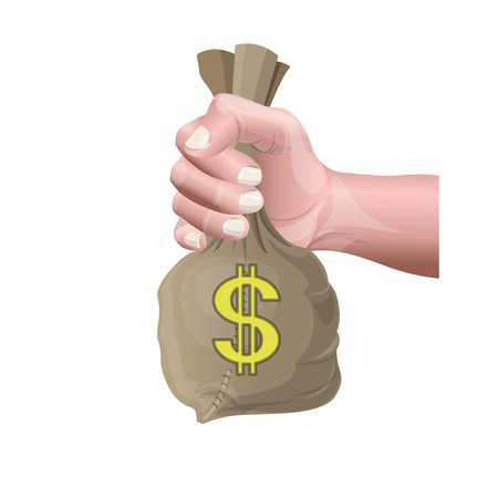Hand holding money bag with dollar sign. Vector illustration isolated on white background Vectores