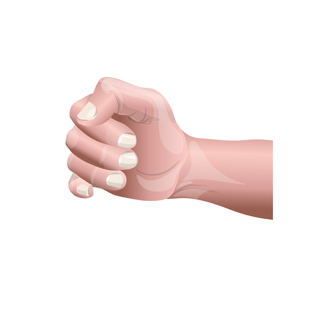 Closeup of a human male hand in a fist. Vector illustration isolated on white background Ilustrace