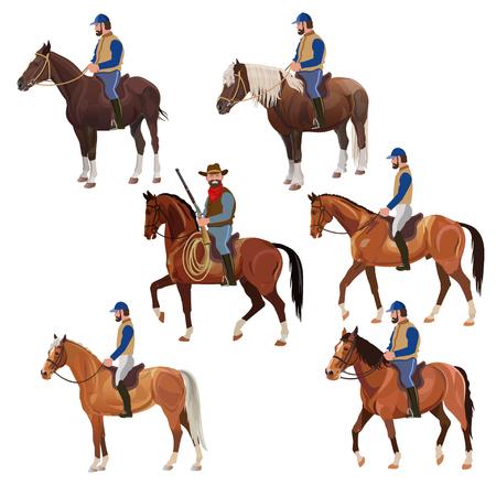 Reiter zu Pferd. Satz Vektorillustration lokalisiert auf weißem Hintergrund