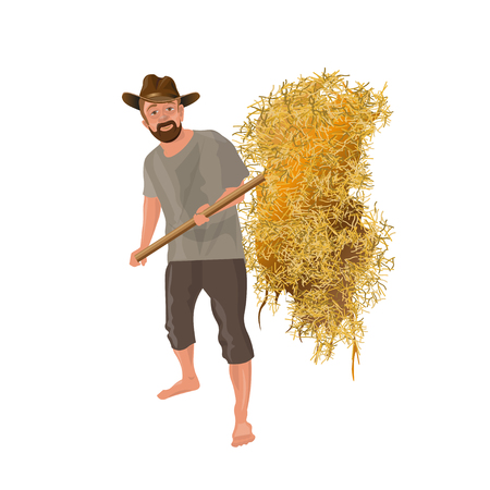 Farmer with a pitchfork collecting hay. Vector illustration isolated on white background