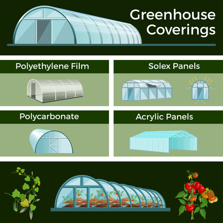 Set of vector greenhouses and high tunnels. Different types of structures and coatings