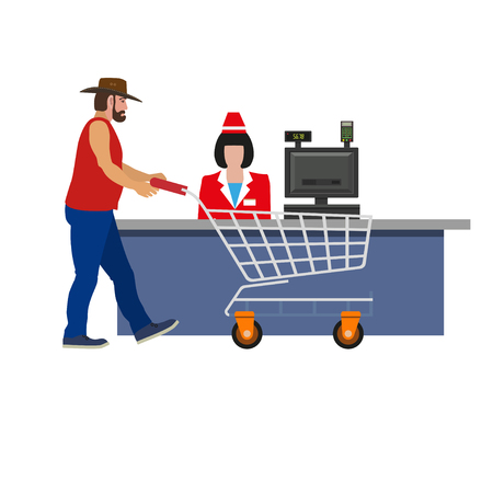 Supermarket cashier woman serving a customer. Shopper with cart. Vector illustration isolated on white background