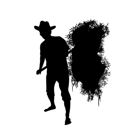 Silhouette of farmer with a pitchfork collecting hay. Vector illustration isolated on white background