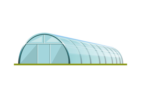 Greenhouse with polyethylene film. Vector illustration isolated on white background Ilustrace