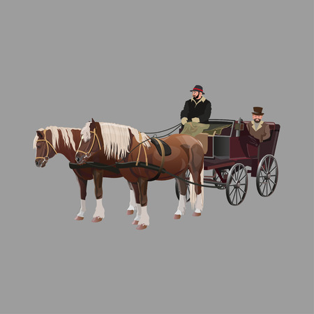 Horse-drawn four-wheeled carriage. Vector illustration isolated on white background Ilustrace