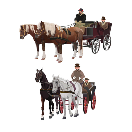 Set of old horse-drawn four-wheeled carriages. Vector illustration isolated on white background
