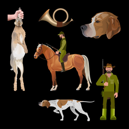 Hunting set with dog, horse, rider, hunter, horn, hare. Vector illustration isolated on black background