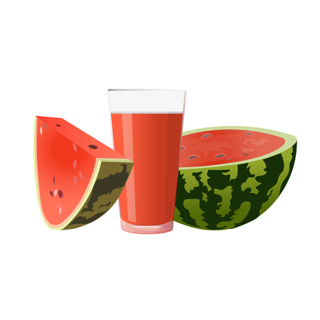Fresh watermelon and glass of juice. Vector illustration isolated on white background