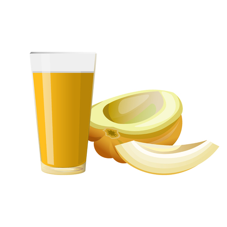 Fresh melon and glass of juice. Vector illustration isolated on white background Illustration