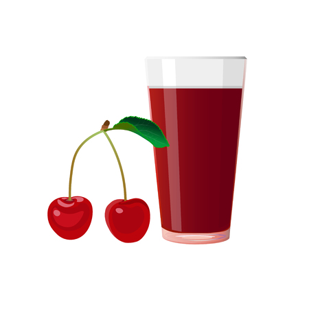 Cherry and glass of juice. Vector illustration isolated on white background Ilustrace