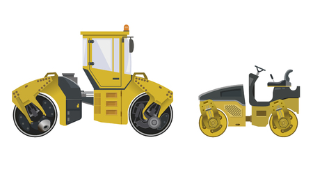 Big and small road rollers. Heavy construction machines. Vector illustration isolated on white background