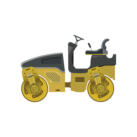 Small yellow road roller. Heavy construction machine. Vector illustration isolated on white background
