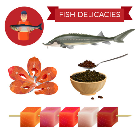 Fish delicacies set with sturgeon, steaks, black caviar and food on a skewer. Vector illustration isolated on white background.