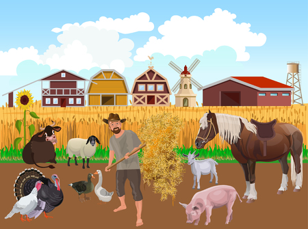 Farmer with farm animals on the background of agricultural buildings. Vector illustration Illustration