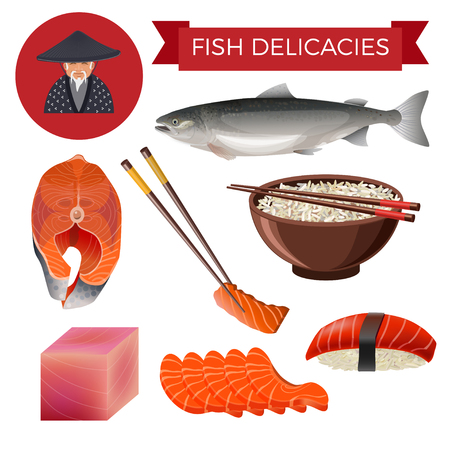 Fish delicacies set with seafood products: salmon, steak, rice, sushi, sashimi. Vector illustration isolated on white background
