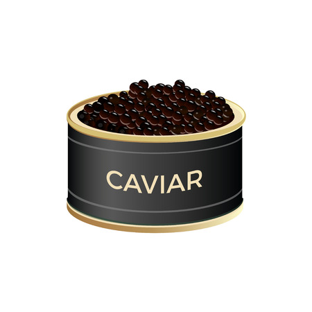 Open tin can with black caviar. Vector illustration isolated on white background Vettoriali