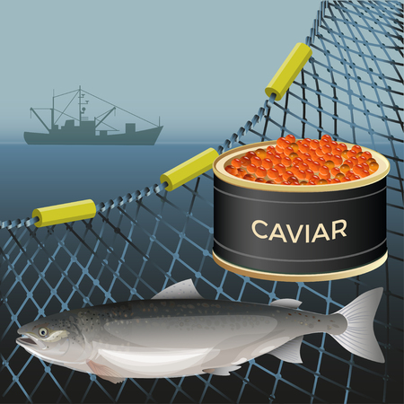 Salmon fish and tin can with red caviar on the background of the marine nets and fishing ship. Vector illustration Illustration
