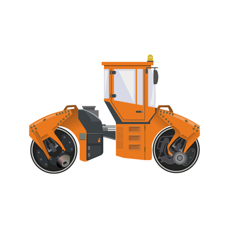 Big road roller. Heavy construction machine. Vector illustration isolated on white background