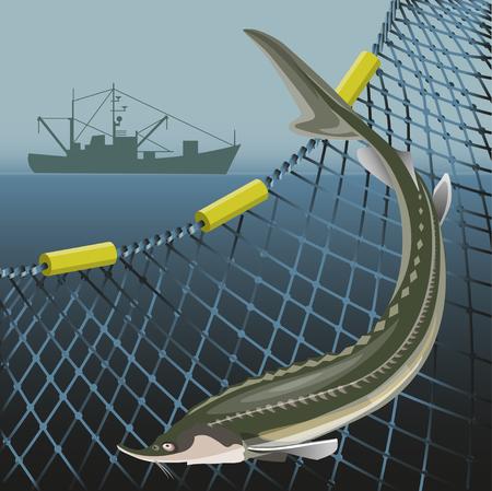 Störfische auf dem Hintergrund der Meeresnetze und des Fischerschiffes. Meereslandschaft. Vektor-Illustration