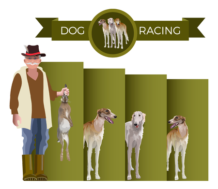 Dog racing. Hare coursing. Vector illustration on white background