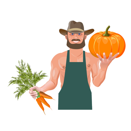 Farmer with vegetables. Vector illustration isolated on white background Stock Illustratie
