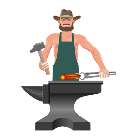 A blacksmith with his tools forges a red-hot metal on the anvil. Vector illustration isolated on white background