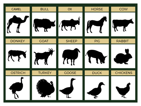 Silhouettes of farm animals. Cattle, livestock, poultry. Vector illustration isolated on white background