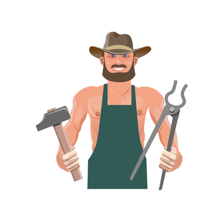 Portrait of a blacksmith with a hammer and tongs. Vector illustration isolated on white background