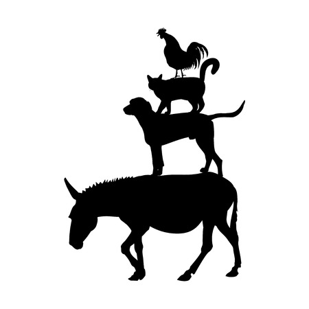 Silhouettes of farm animals as Bremen town musicians. Vector illustration isolated on white background