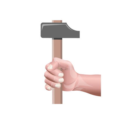 Male hand holding a hammer. Vector illustration isolated on white background
