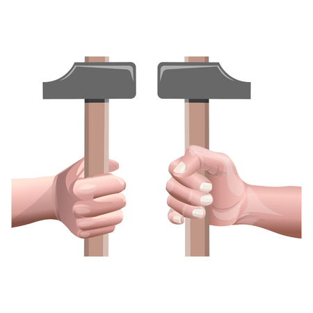 Male hand holding a hammer. View from the inside and outside. Vector illustration isolated on white background Çizim