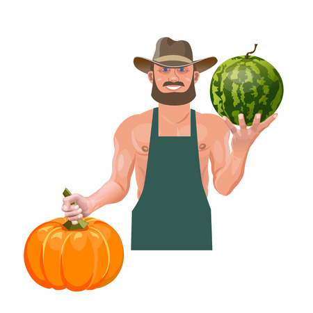 Farmer holding watermelon and pumpkin. Vector illustration isolated on white background