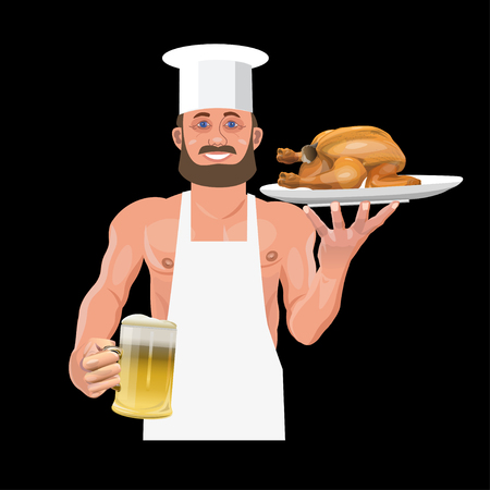 Smiling bartender holding beer and fried chicken. Vector illustration isolated on black background