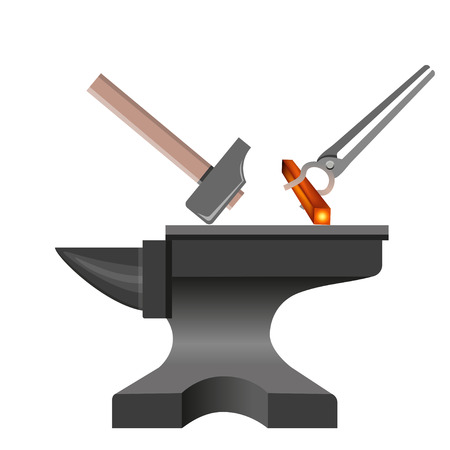 Forging tools. Anvil with hammer and tongs. Vector illustration isolated on white background Çizim