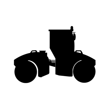 Silhouette of big road roller. Heavy construction machine. Vector illustration isolated on white background
