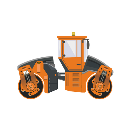 Big road roller. Heavy construction machine. Vector illustration isolated on white background Vector Illustration