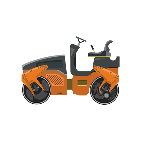 Small road roller. Heavy construction machine. Vector illustration isolated on white background  イラスト・ベクター素材