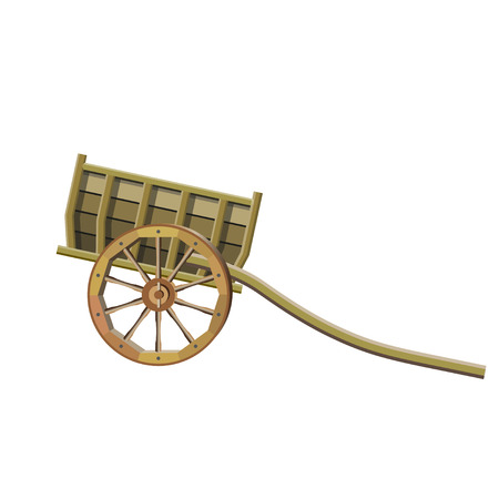 Two-wheeled wooden cart with large wheels. Vector illustration isolated on white background
