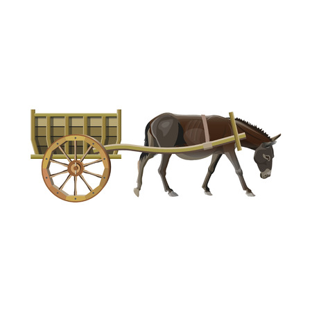 Donkey pull a wooden cart. Vector illustration isolated on white background Vettoriali