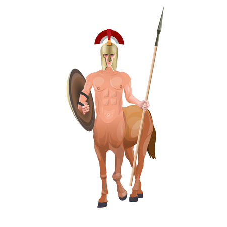 Ancient mythical creature. Centaur warrior with spear and shield. Vector illustration isolated on white background