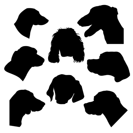 Silhouettes of hunting dogs heads. Greyhound, pointer, scent hound, spaniel and dachshund. Vector illustration isolated on white background