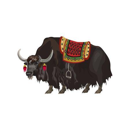 Animal de yak avec selle. Illustration vectorielle isolée sur fond blanc