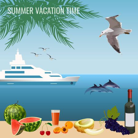 Summer vacation time. Sea, palm trees, ship, gulls, dolphins, fruits. Vector banner in realistic style.