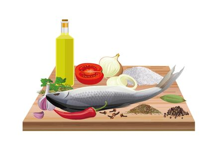 Fish on a wooden cutting board with vegetables and seasonings. Vector illustration isolated on white background