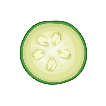Cut green cucumber. Top view. Vector illustration isolated on white background Ilustrace